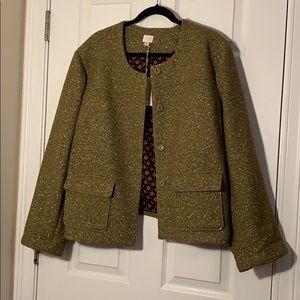 NWT Target Green and Gold Metallic Wool Jacket 26W